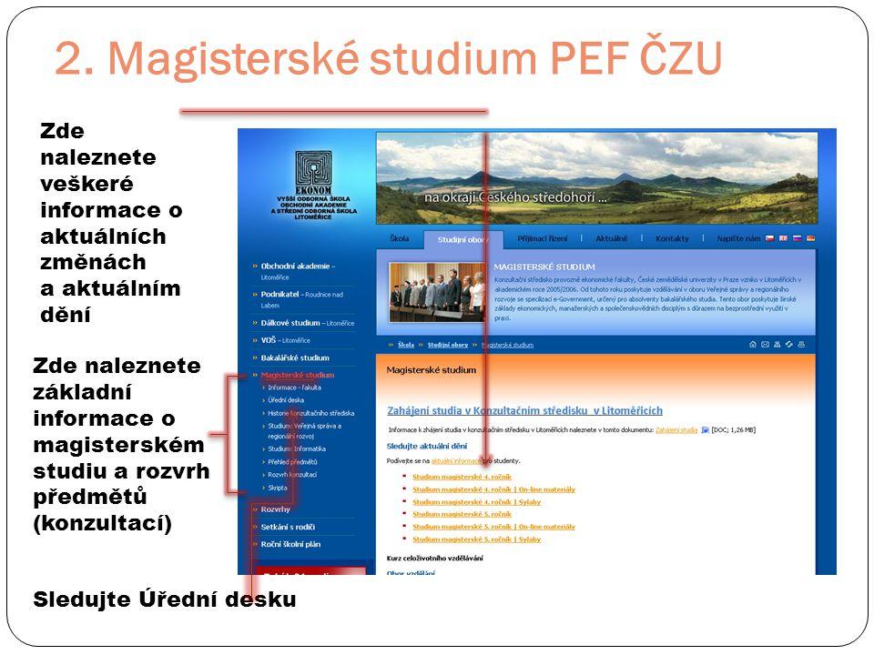 2. Magisterské studium PEF ČZU