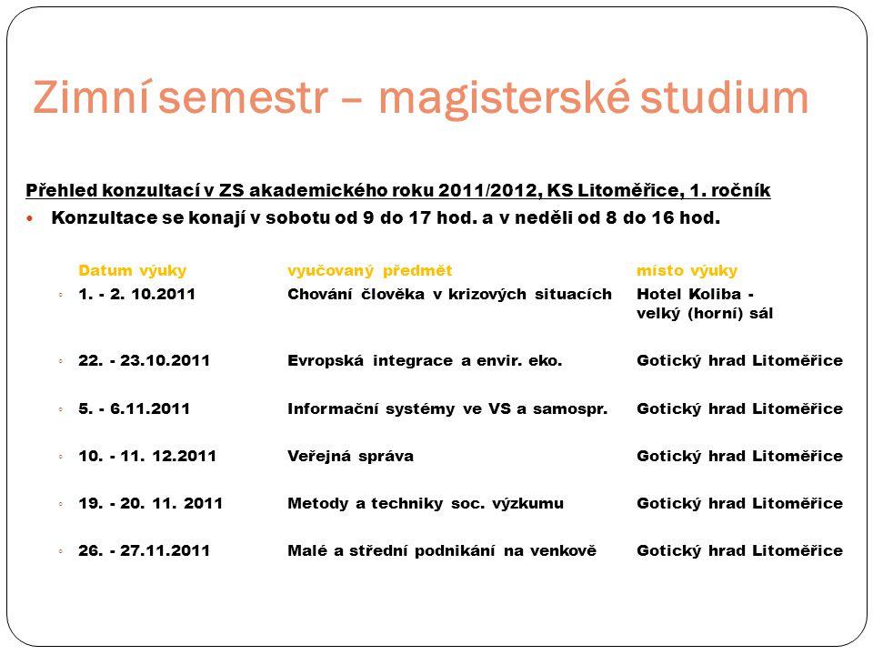Zimní semestr – magisterské studium