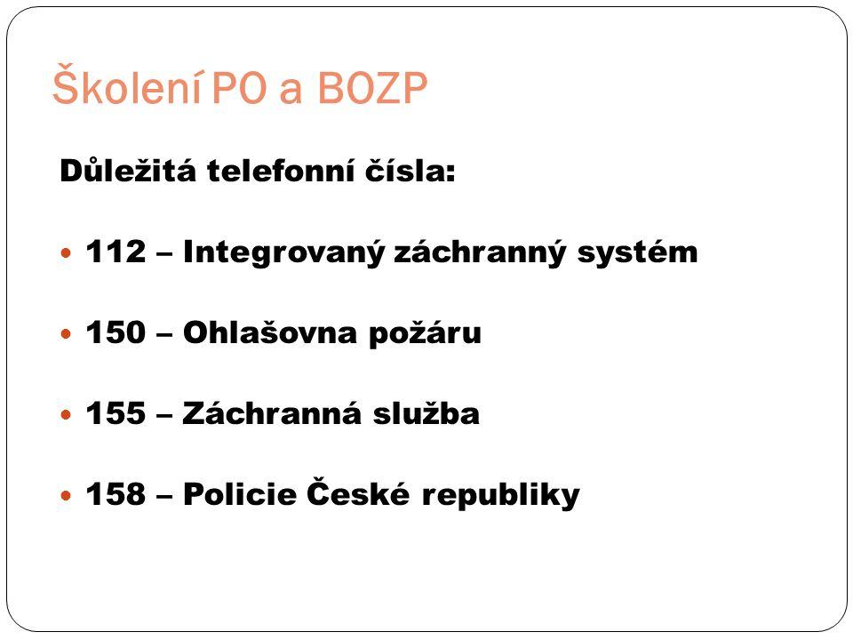 Školení PO a BOZP Důležitá telefonní čísla: