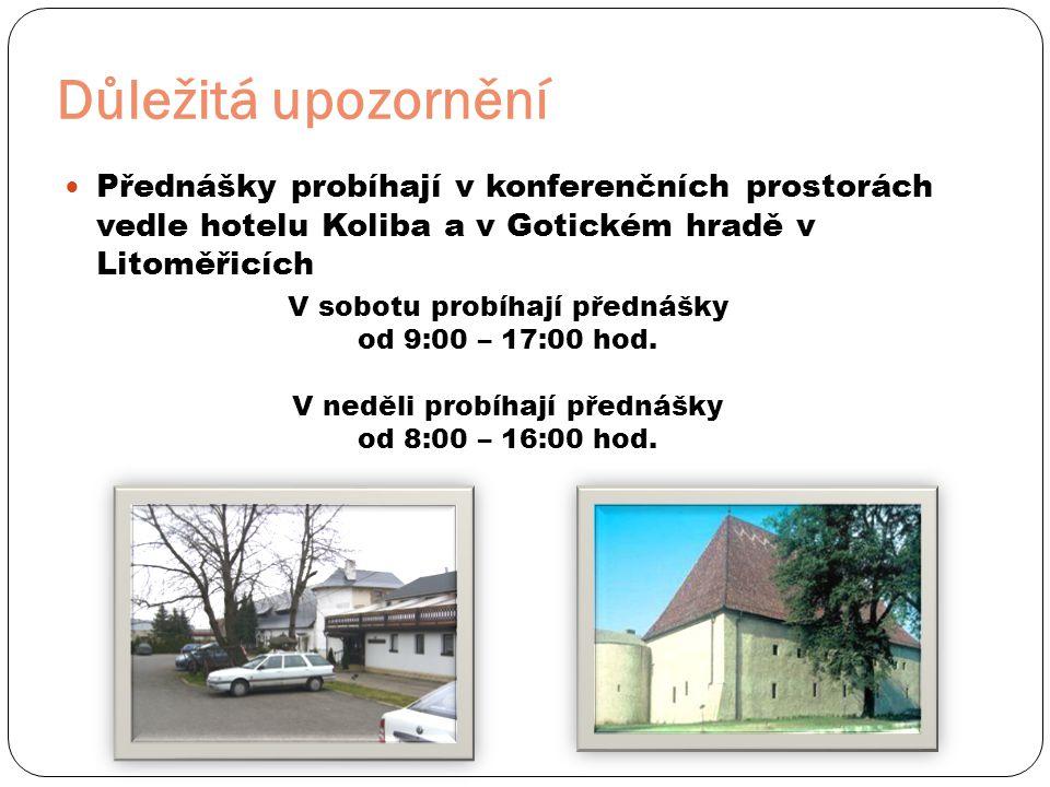 Důležitá upozornění Přednášky probíhají v konferenčních prostorách vedle hotelu Koliba a v Gotickém hradě v Litoměřicích.