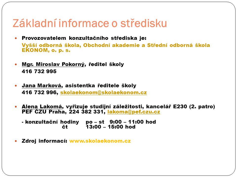 Základní informace o středisku