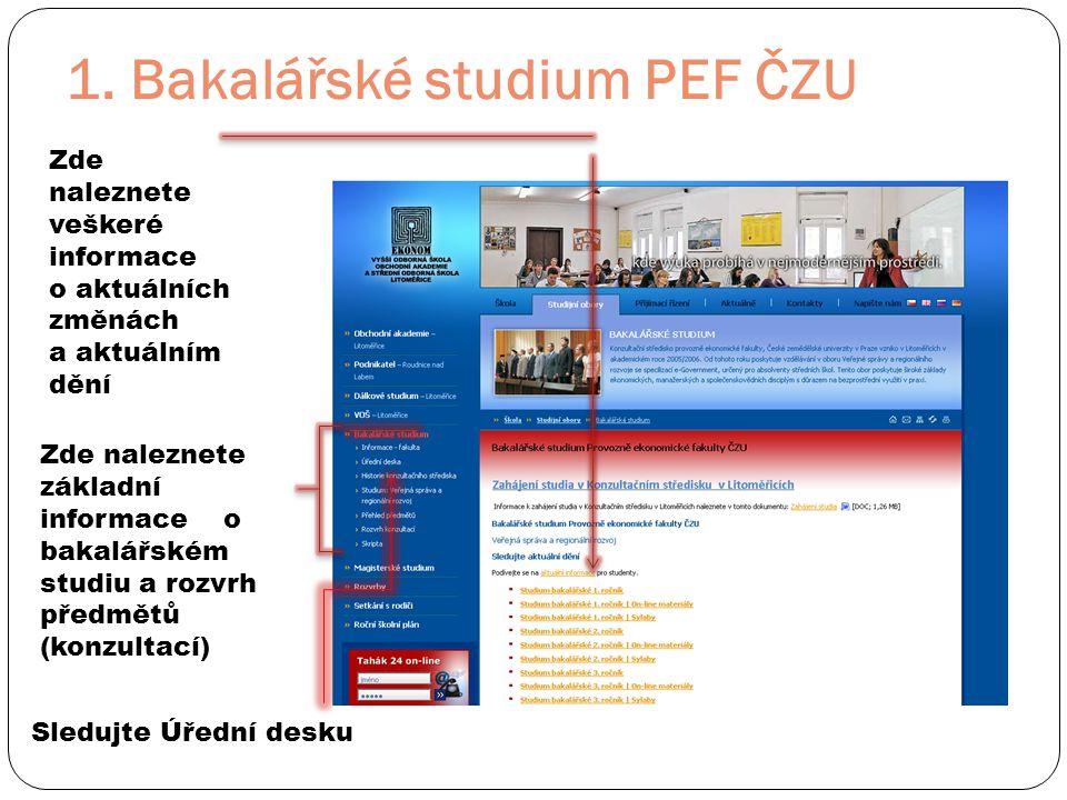 1. Bakalářské studium PEF ČZU