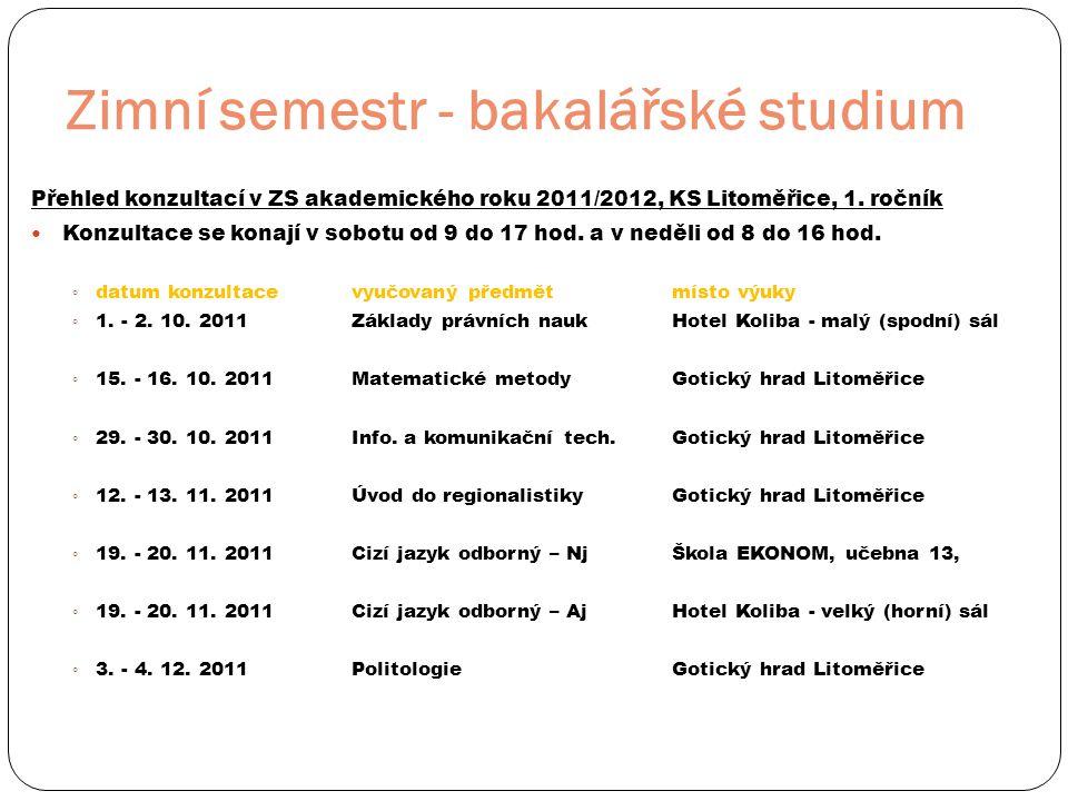 Zimní semestr - bakalářské studium