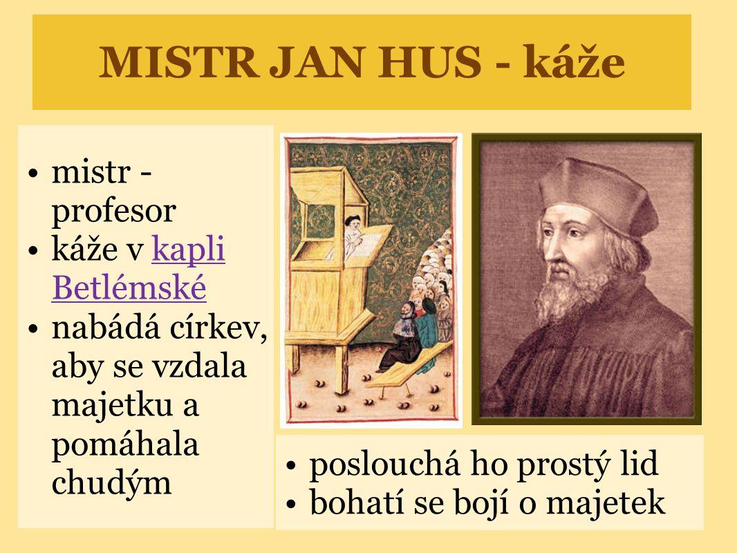 MISTR JAN HUS - káže mistr - profesor káže v kapli Betlémské