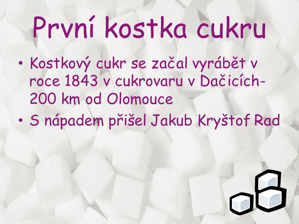 První kostka cukru Kostkový cukr se začal vyrábět v roce 1843 v cukrovaru v Dačicích- 200 km od Olomouce.