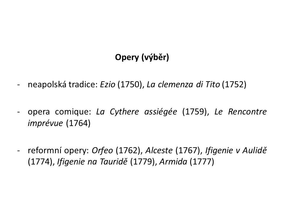 Opery (výběr) neapolská tradice: Ezio (1750), La clemenza di Tito (1752) opera comique: La Cythere assiégée (1759), Le Rencontre imprévue (1764)