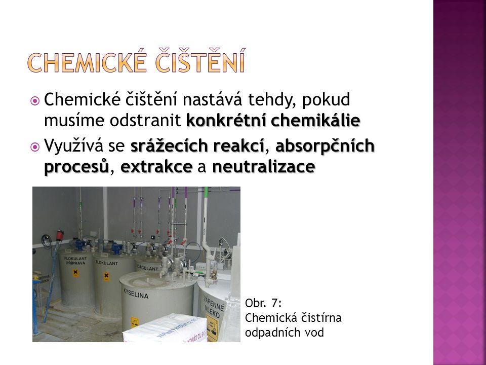 Chemické čištění Chemické čištění nastává tehdy, pokud musíme odstranit konkrétní chemikálie.