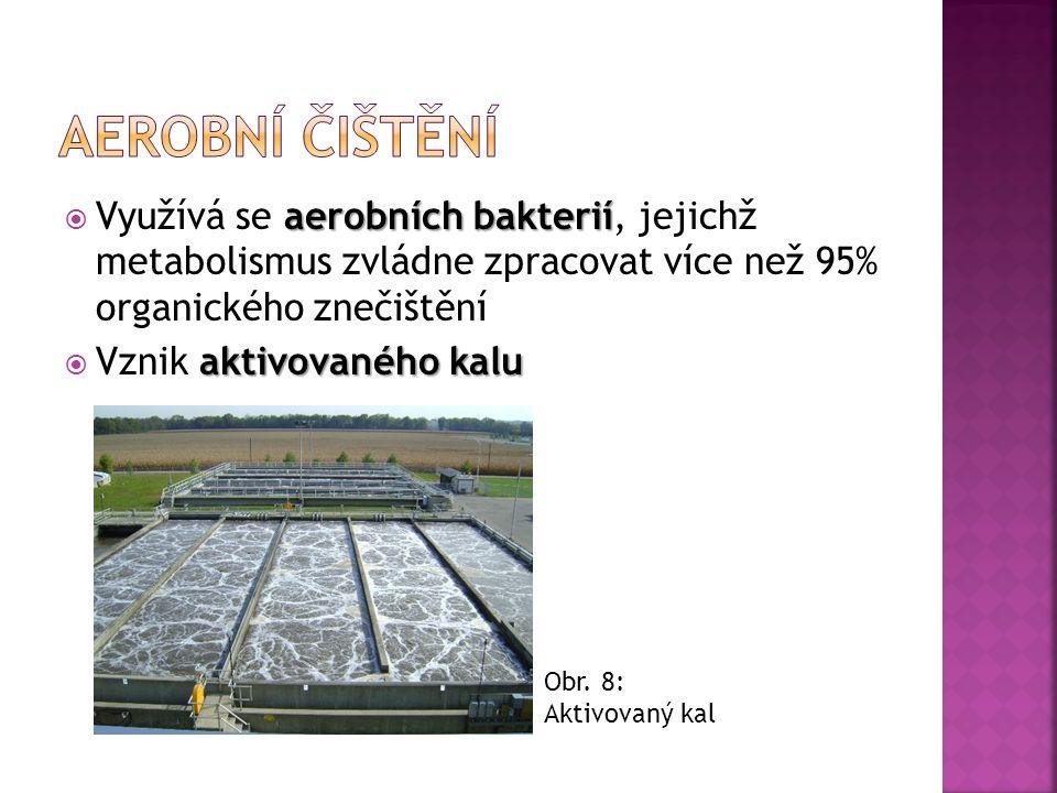 Aerobní čištění Využívá se aerobních bakterií, jejichž metabolismus zvládne zpracovat více než 95% organického znečištění.