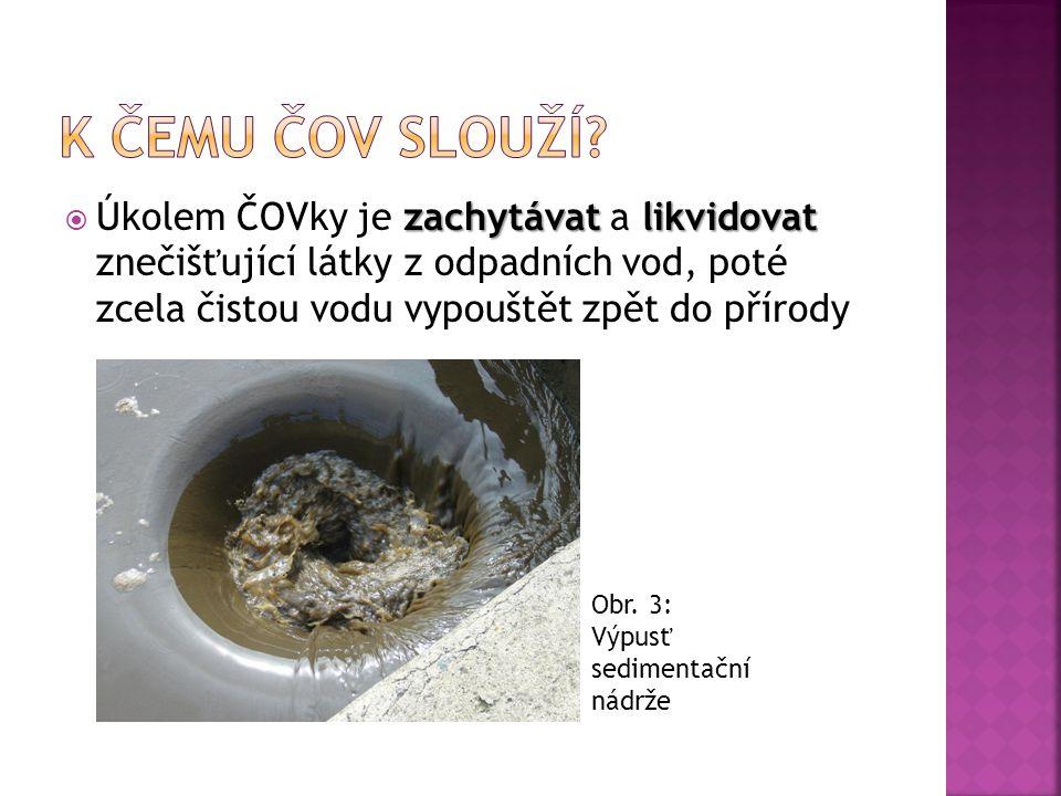 K čemu čov slouží Úkolem ČOVky je zachytávat a likvidovat znečišťující látky z odpadních vod, poté zcela čistou vodu vypouštět zpět do přírody.