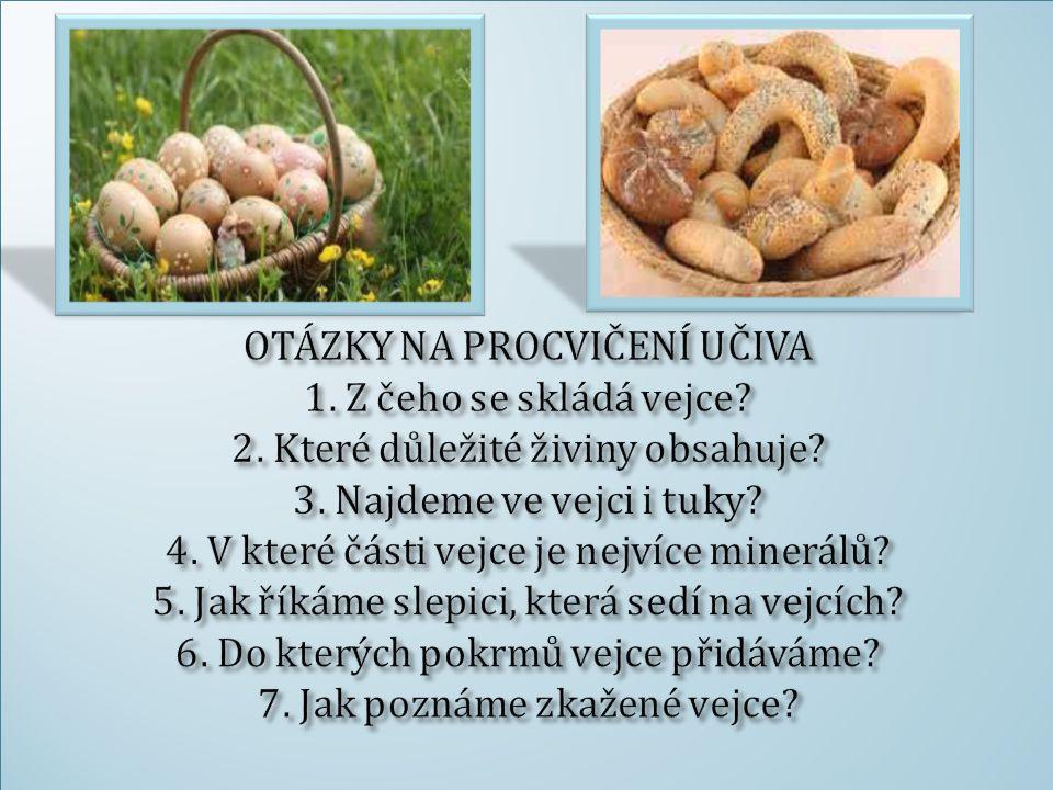 OTÁZKY NA PROCVIČENÍ UČIVA 1. Z čeho se skládá vejce. 2