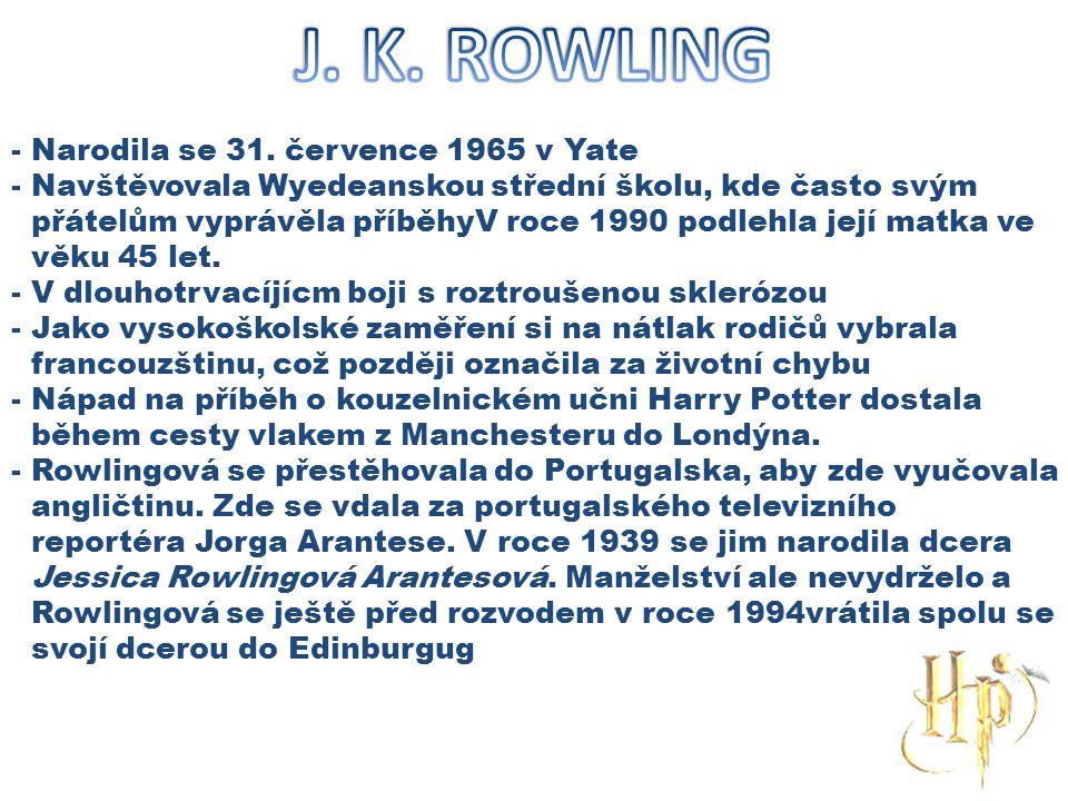 J. K. ROWLING Narodila se 31. července 1965 v Yate