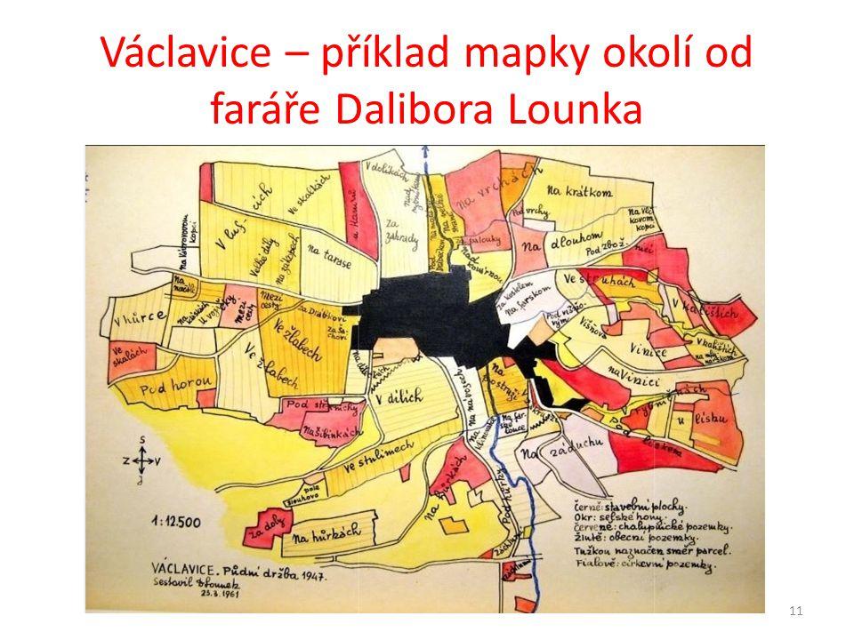 Václavice – příklad mapky okolí od faráře Dalibora Lounka