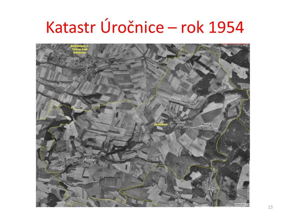 Katastr Úročnice – rok 1954