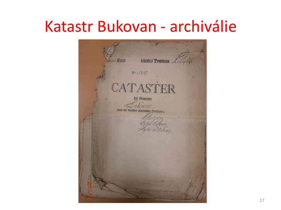 Katastr Bukovan - archiválie
