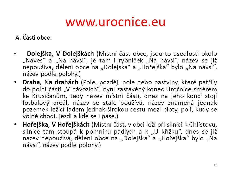 www.urocnice.eu A. Části obce: