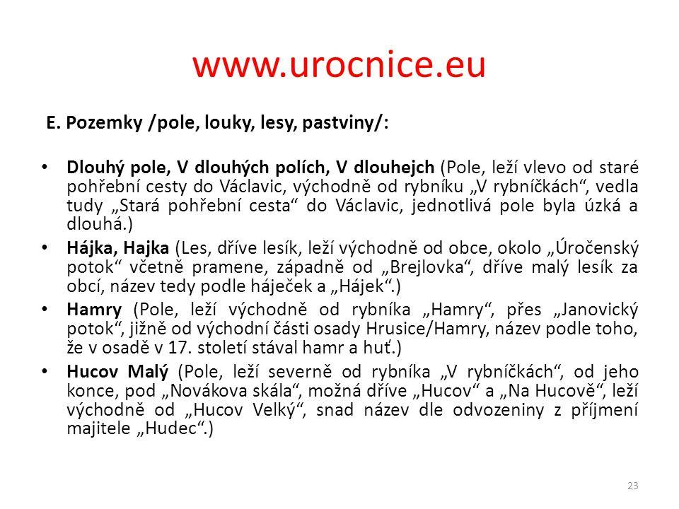 www.urocnice.eu E. Pozemky /pole, louky, lesy, pastviny/: