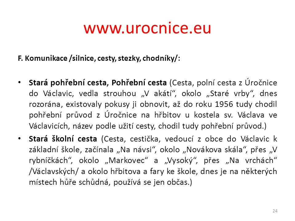 www.urocnice.eu F. Komunikace /silnice, cesty, stezky, chodníky/: