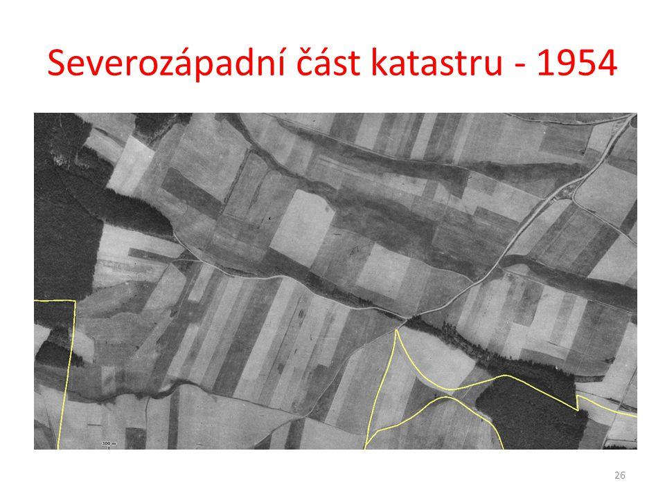 Severozápadní část katastru - 1954