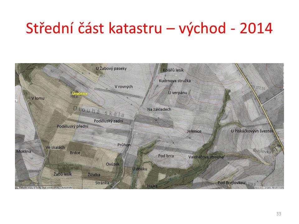 Střední část katastru – východ - 2014