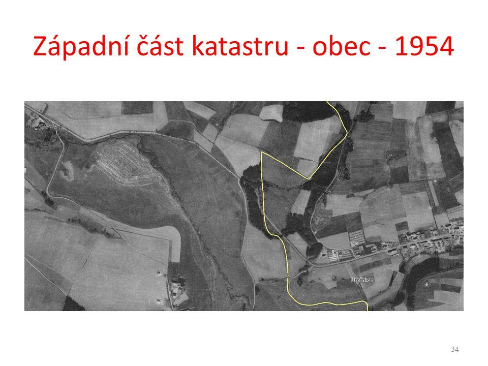 Západní část katastru - obec - 1954