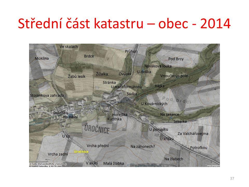 Střední část katastru – obec - 2014