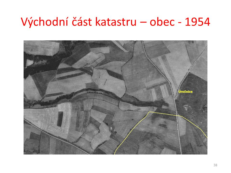 Východní část katastru – obec - 1954
