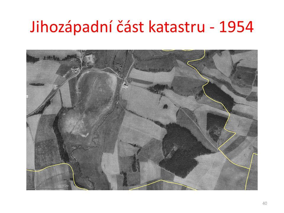 Jihozápadní část katastru - 1954