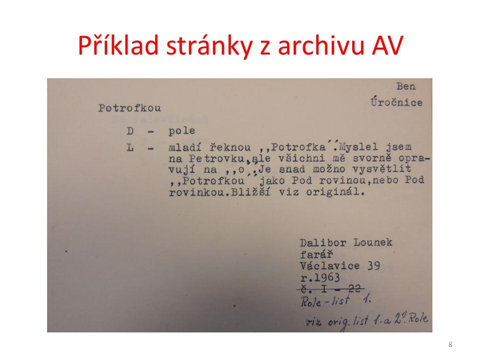Příklad stránky z archivu AV