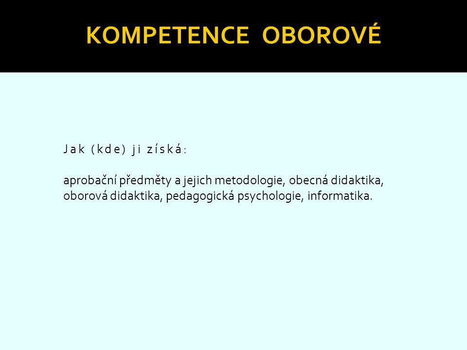 Kompetence oborové Jak (kde) ji získá: