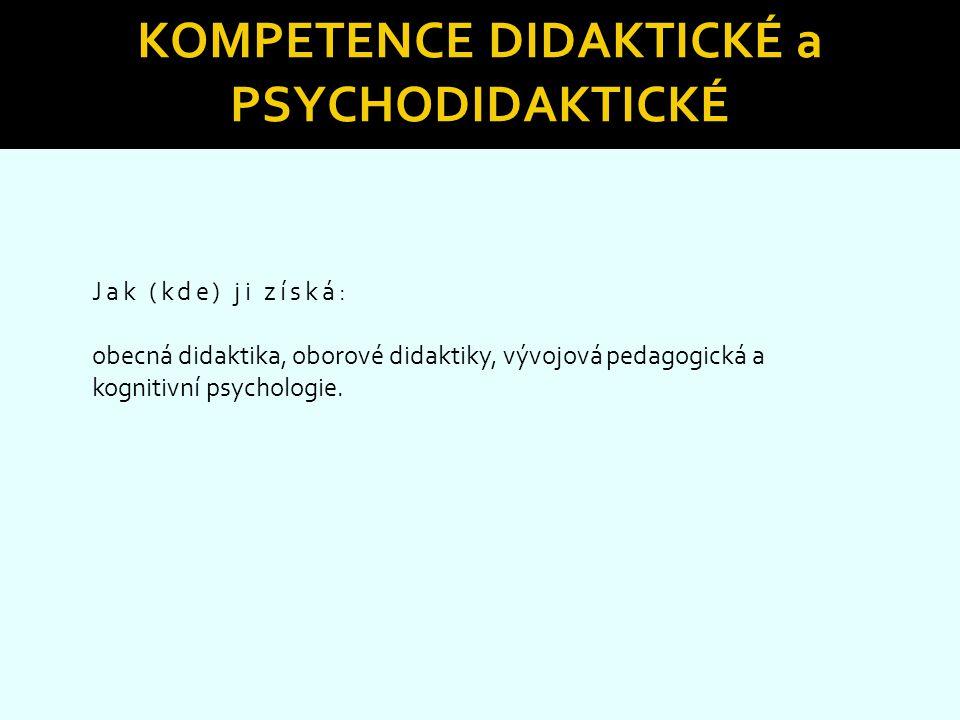 Kompetence didaktické a psychodidaktické