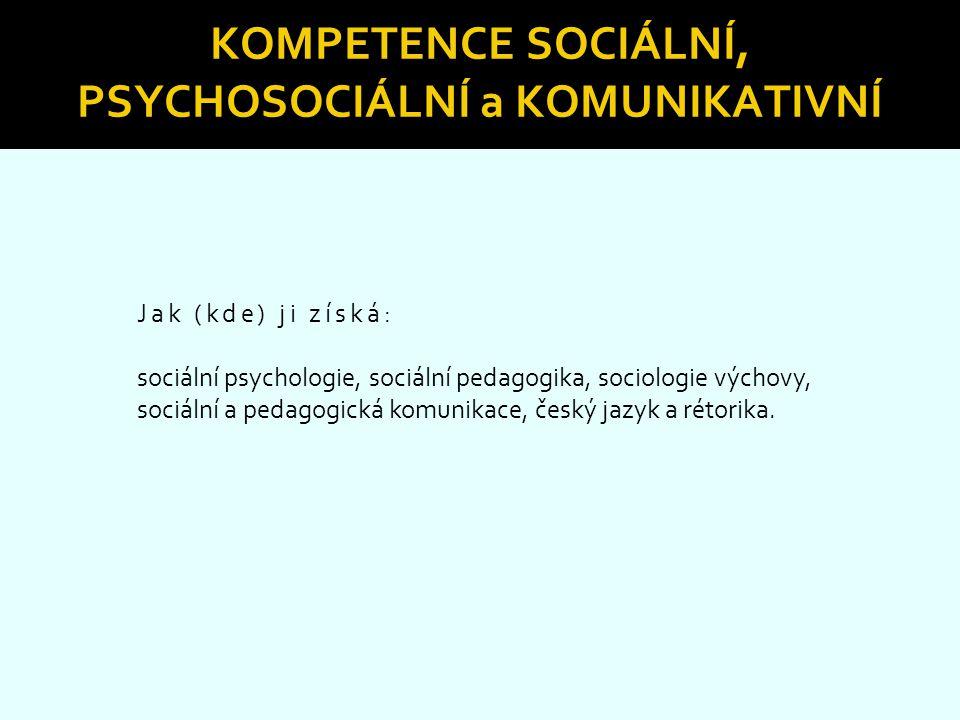 Kompetence sociální, psychosociální a komunikativní