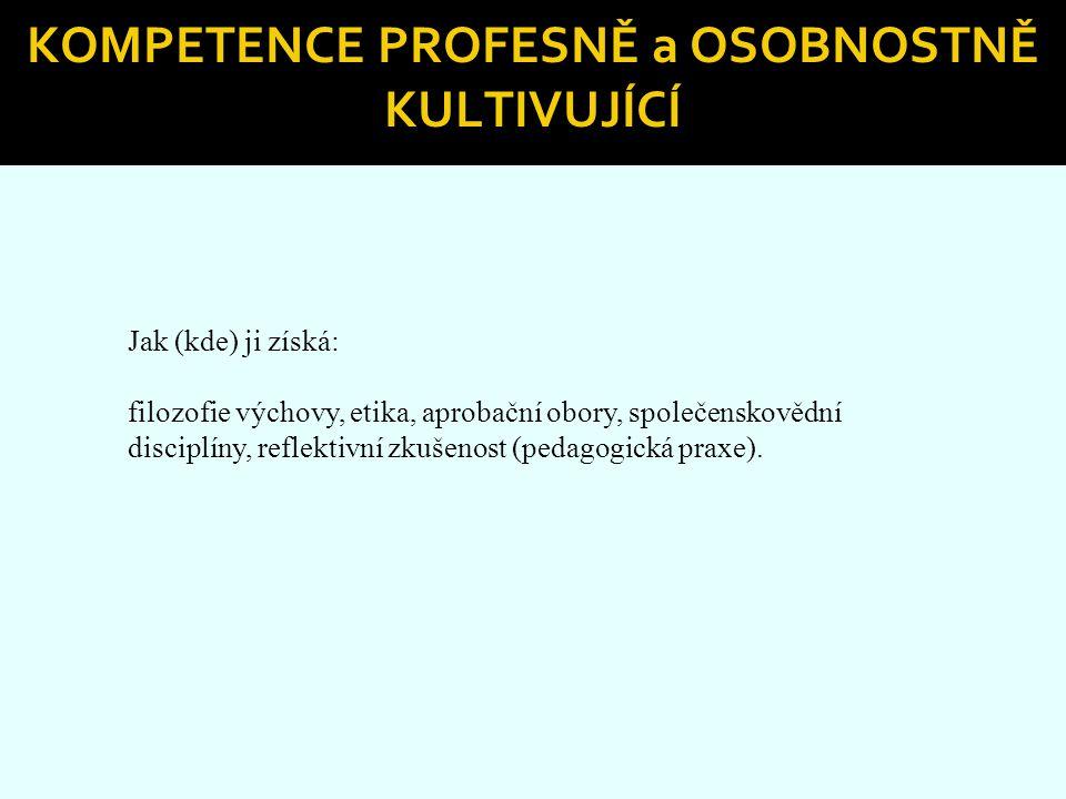 Kompetence profesně a osobnostně kultivující