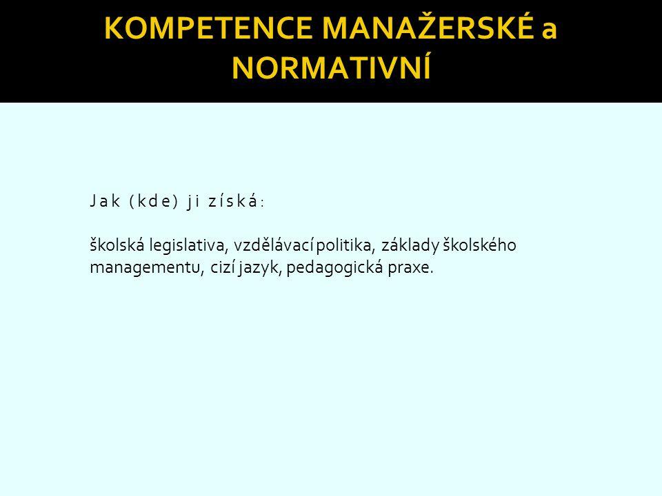 Kompetence manažerské a normativní
