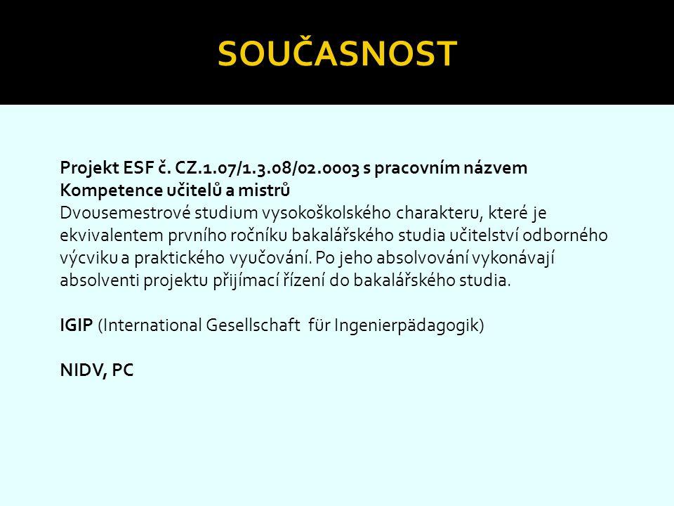 Současnost Projekt ESF č. CZ.1.07/1.3.08/02.0003 s pracovním názvem Kompetence učitelů a mistrů.