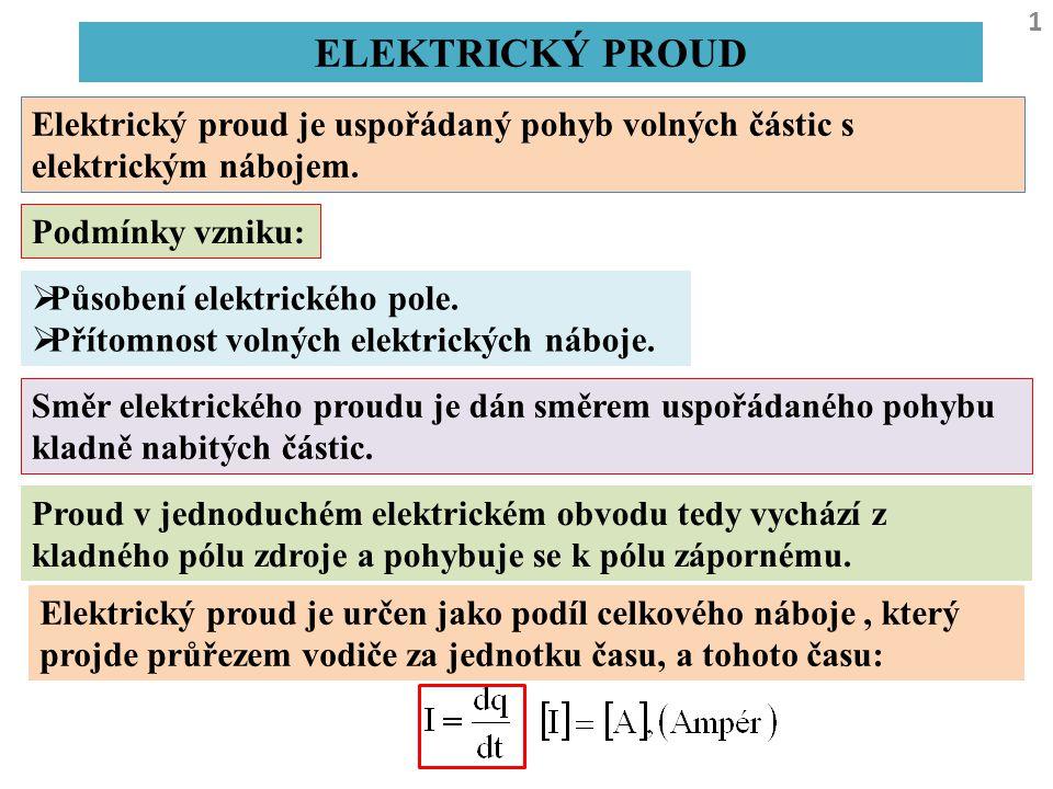 ELEKTRICKÝ PROUD Elektrický proud je uspořádaný pohyb volných částic s elektrickým nábojem. Podmínky vzniku: