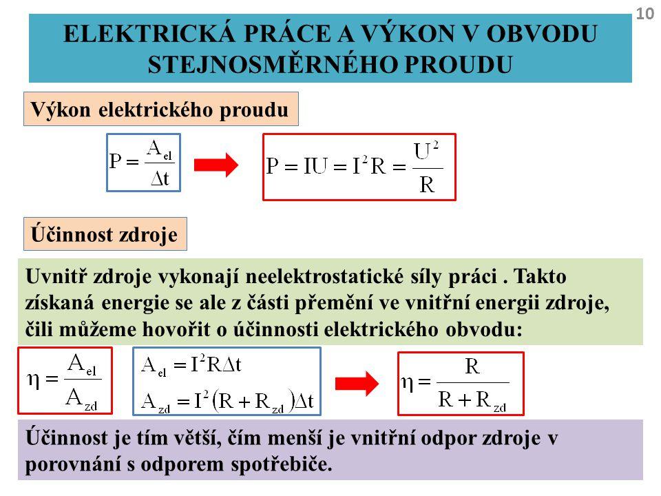 Elektrická práce a výkon v obvodu stejnosměrného proudu