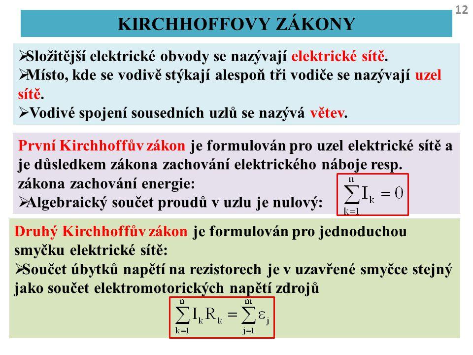 Kirchhoffovy zákony Složitější elektrické obvody se nazývají elektrické sítě. Místo, kde se vodivě stýkají alespoň tři vodiče se nazývají uzel sítě.