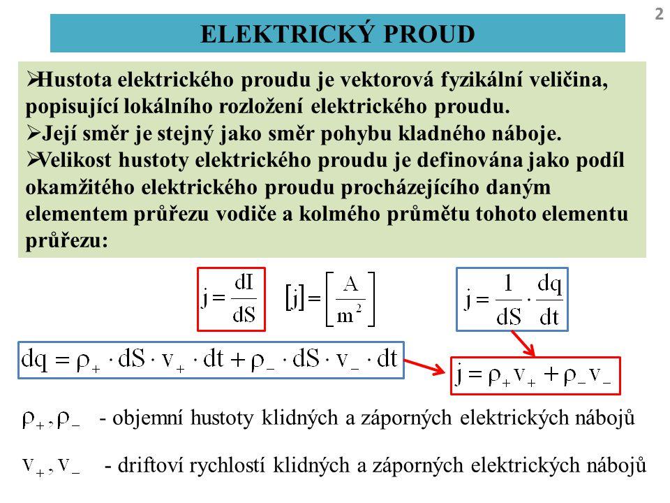 ELEKTRICKÝ PROUD Hustota elektrického proudu je vektorová fyzikální veličina, popisující lokálního rozložení elektrického proudu.