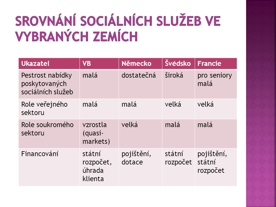 Srovnání sociálních služeb ve vybraných zemích