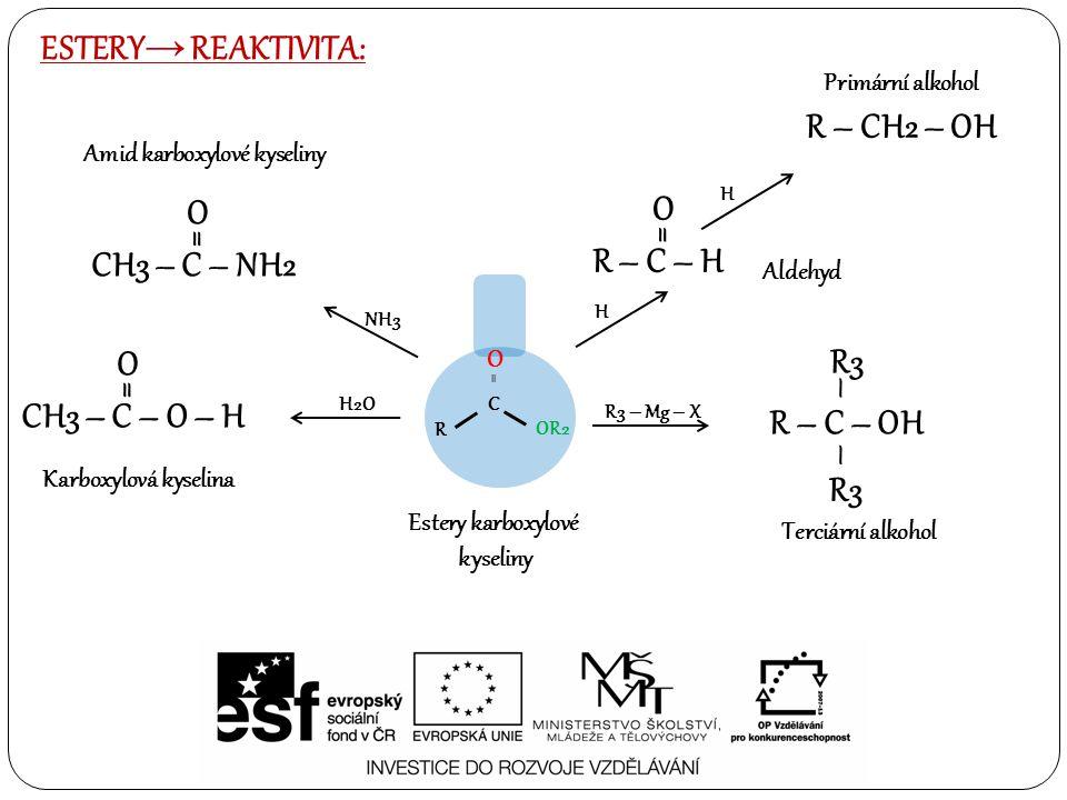 ESTERY→ REAKTIVITA: R – CH2 – OH O O = = R – C – H CH3 – C – NH2 O = –