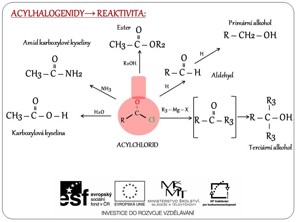 ACYLHALOGENIDY→ REAKTIVITA: