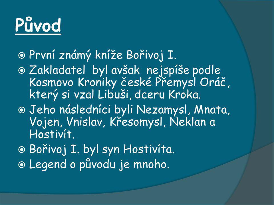 Původ První známý kníže Bořivoj I.