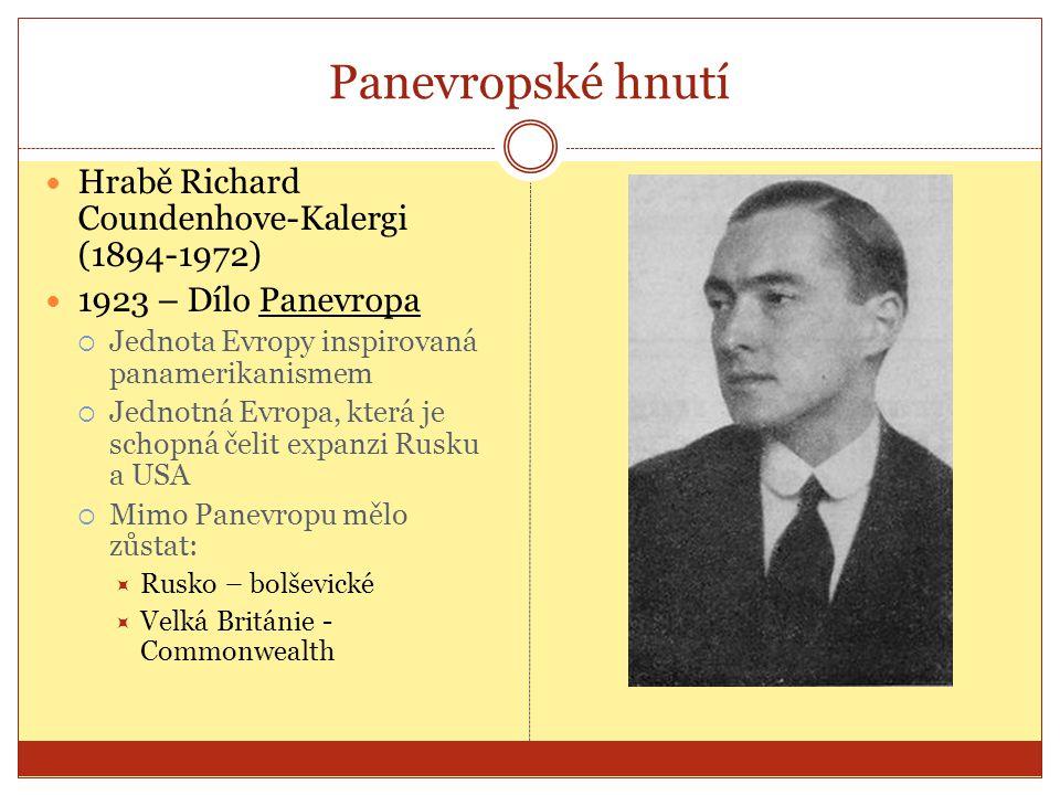 Panevropské hnutí Hrabě Richard Coundenhove-Kalergi (1894-1972)