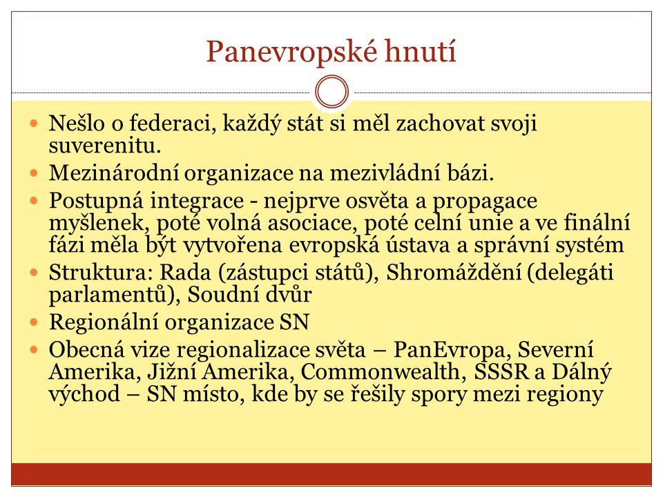 Panevropské hnutí Nešlo o federaci, každý stát si měl zachovat svoji suverenitu. Mezinárodní organizace na mezivládní bázi.