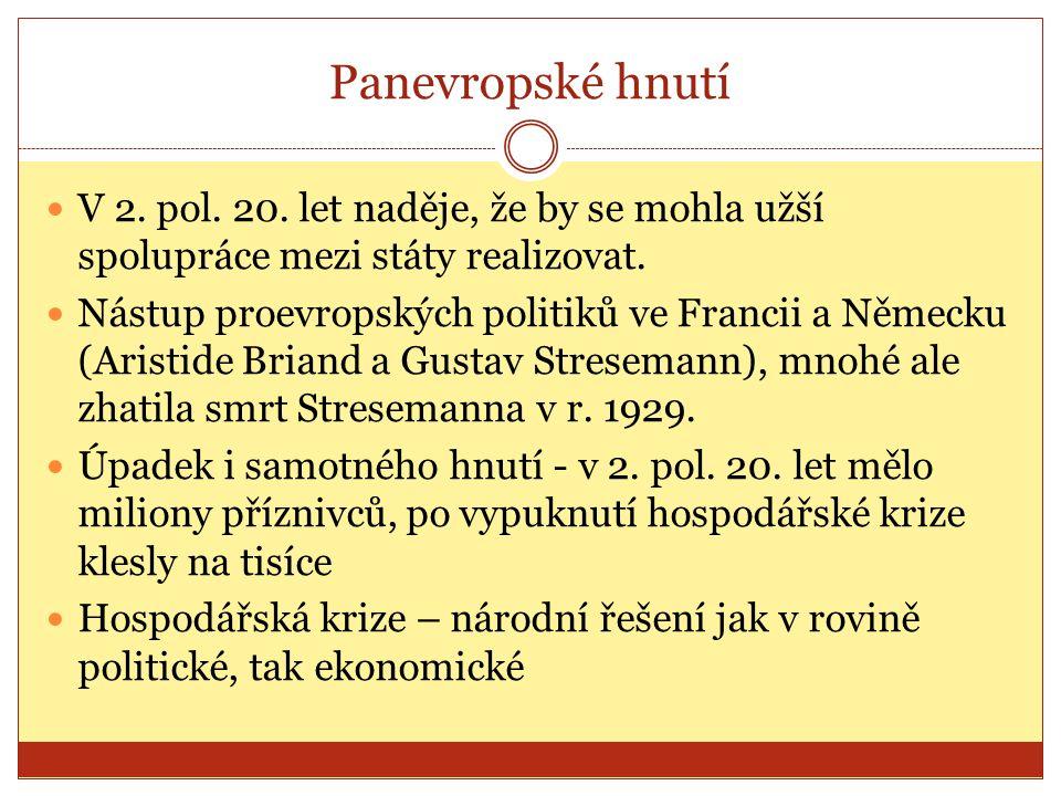 Panevropské hnutí V 2. pol. 20. let naděje, že by se mohla užší spolupráce mezi státy realizovat.