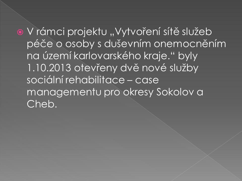 """V rámci projektu """"Vytvoření sítě služeb péče o osoby s duševním onemocněním na území karlovarského kraje. byly 1.10.2013 otevřeny dvě nové služby sociální rehabilitace – case managementu pro okresy Sokolov a Cheb."""