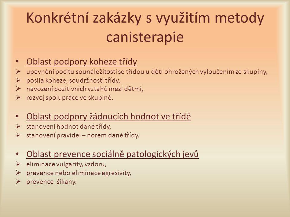 Konkrétní zakázky s využitím metody canisterapie
