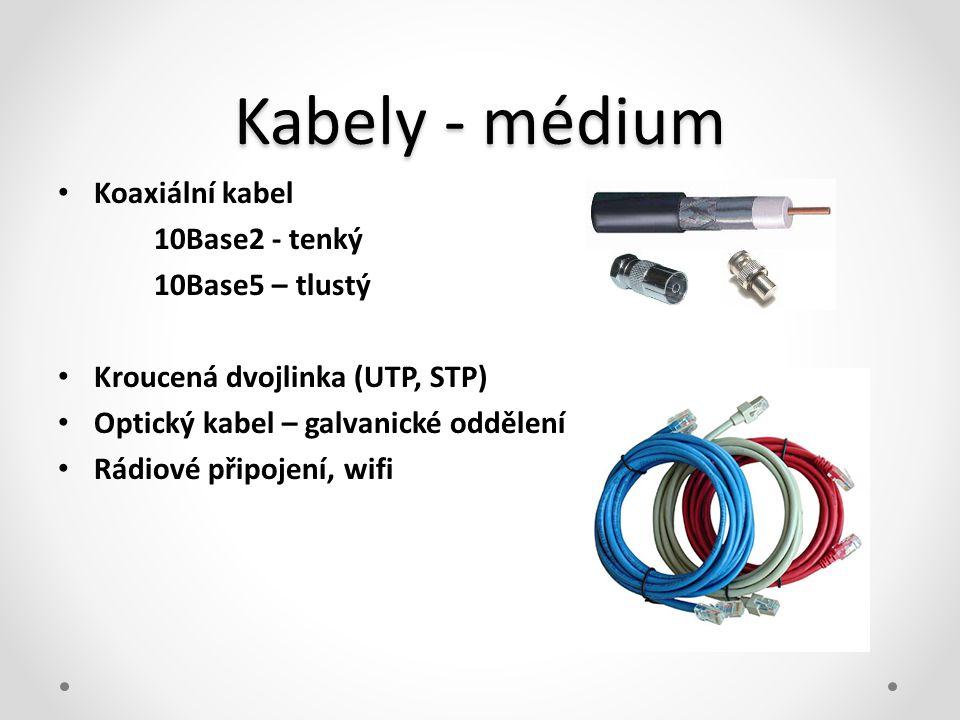 Kabely - médium Koaxiální kabel 10Base2 - tenký 10Base5 – tlustý