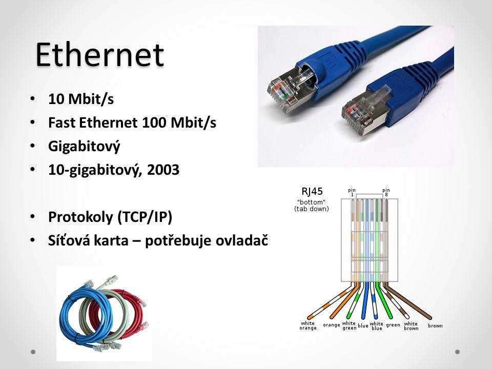 Ethernet 10 Mbit/s Fast Ethernet 100 Mbit/s Gigabitový