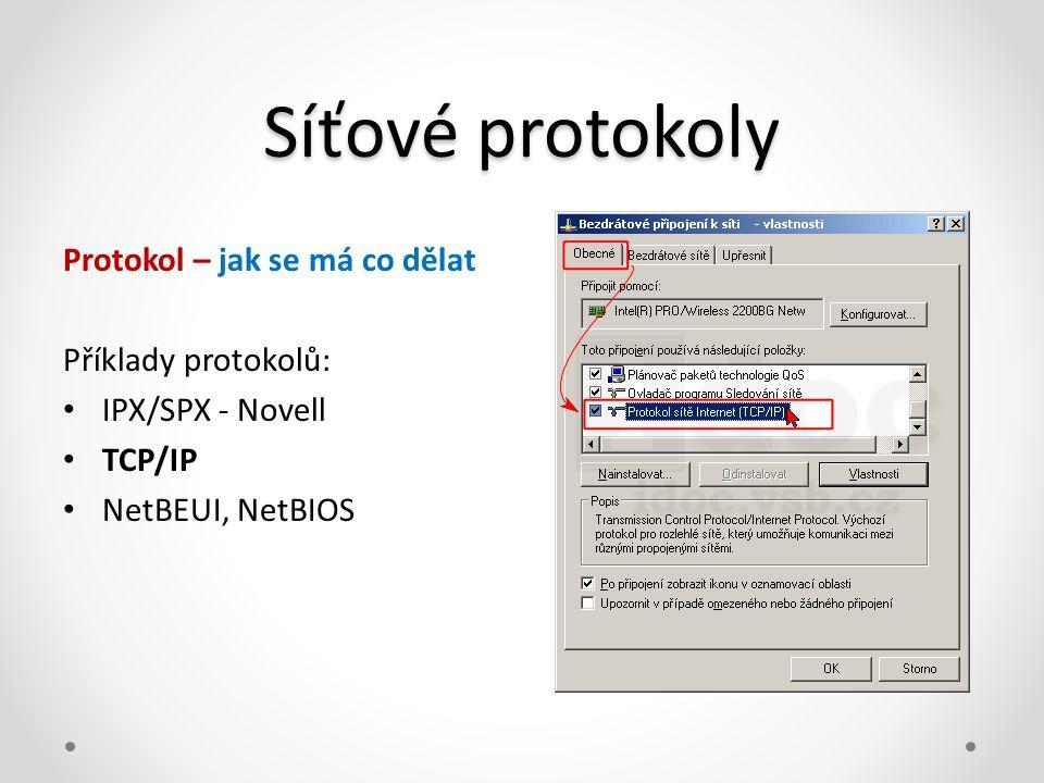 Síťové protokoly Protokol – jak se má co dělat Příklady protokolů: